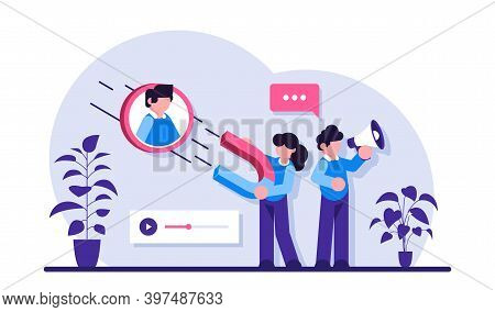 Find Leads Flat Concept Vector. Find New Customer, Content Creation, Sales Funnel. Generate Sales Le