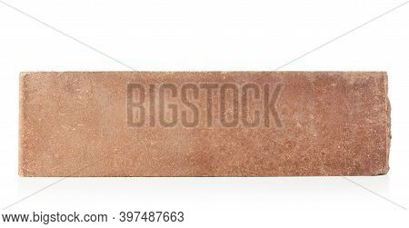 Brick Outer Textured Isolated On White Background. Hollow Red Brick.