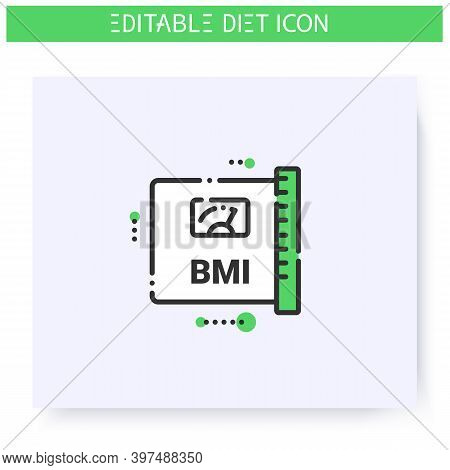 Body Mass Index Line Icon. Body Weight Control. Fat Measurement Method. Diet. Weight Loss. Portion C