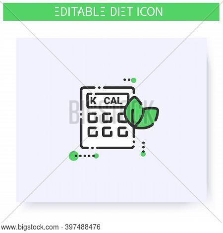 Calorie Calculator Line Icon. Calorie Count. Serving Size. Diet. Weight Loss. Portion Control. Healt