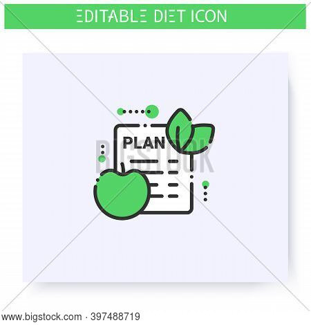 Diet Plan Line Icon. Checklist. Individual Diet List. Dietary Nutrition. Calorie Count. Slimming Con