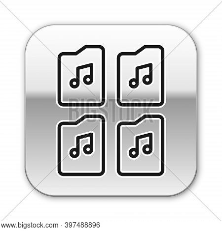 Black Line Music File Document Icon Isolated On White Background. Waveform Audio File Format For Dig