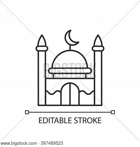 Mosque Linear Icon. Place Of Worship For Muslims. Facilities From Which Call To Prayer Are Issued. T