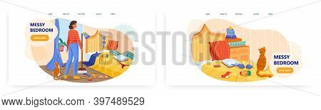 Messy Bedroom Interior. Vector Concept Illustration. Young Woman Cleaning Untidy Room At Home. Mess