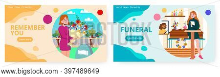 Woman Stays Next To Coffin And Gives Funeral Speech Concept Vector Illustration. Woman Brings Flower
