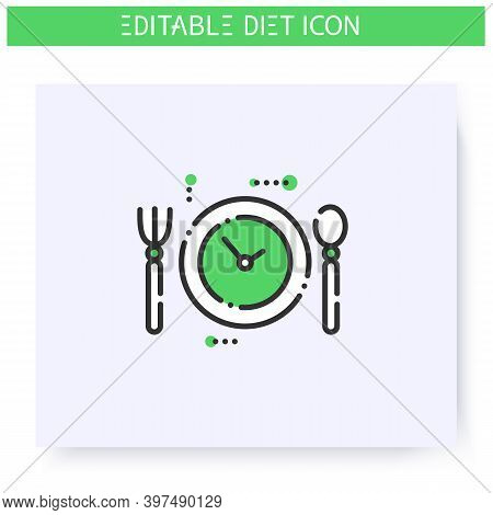 Nutrition Regime Line Icon. Meals By Hour. Diet. Weight Loss. Portion Control. Healthy Eating. Dieta