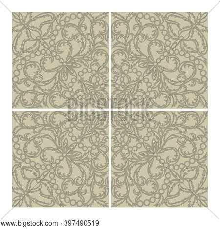 Floor Or Wall Tile Design. Classic Openwork Floral Ornament Made Of Thin Leaves And Flowers. Calm Gr