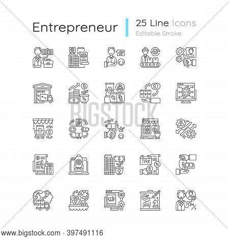 Entrepreneurship Linear Icons Set. Profitable Business. Commercial Company Management And Developmen