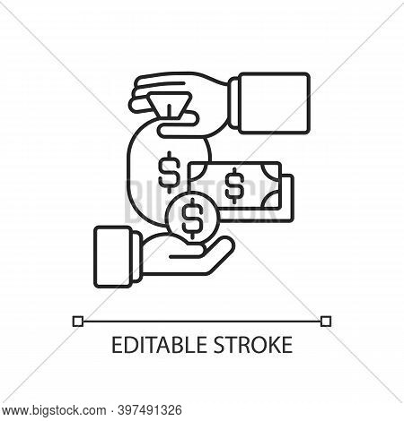 Payroll Linear Icon. Finances Management Thin Line Customizable Illustration. Contour Symbol. Bankin