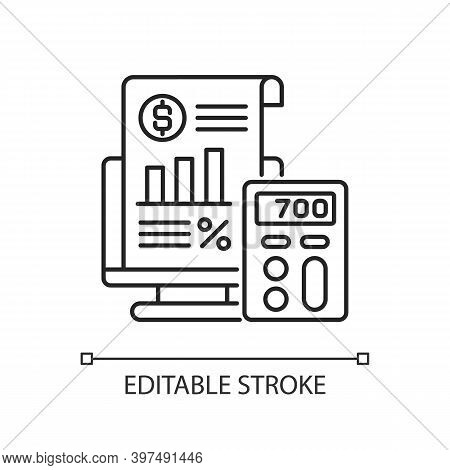Bookkeeping And Audit Linear Icon. Economic Management, Budget Assessment Thin Line Customizable Ill
