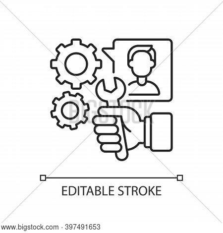 Providing Services Linear Icon. Maintenance Thin Line Customizable Illustration. Contour Symbol. Rep