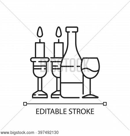 Kosher Wine Linear Icon. Jewish Holidays And Rituals. Passover Seder. Festive Meal. Grape Juice. Thi