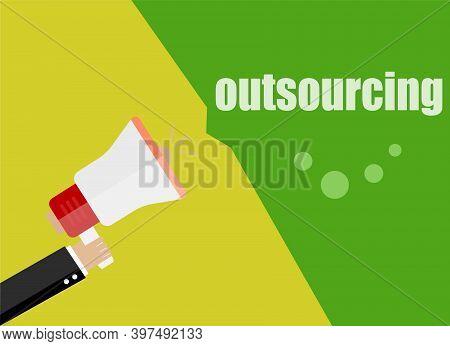 Outsourcing. Flat Design Business Concept Digital Marketing Business Man Holding Megaphone For Websi