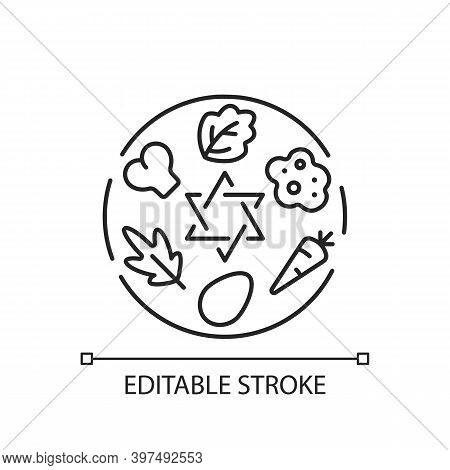 Passover Seder Plate Linear Icon. Food Platter. Symbolic Foods. Six Ritual Items. Thin Line Customiz