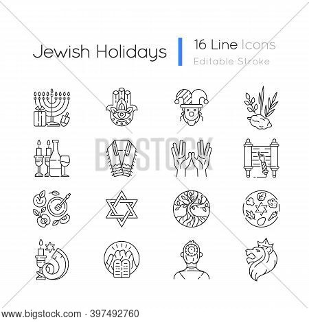 Jewish Holidays Linear Icons Set. Holy Symbolism. Purim, Hanukkah, Shavuot, Shabbat. Hebrew Bible. C