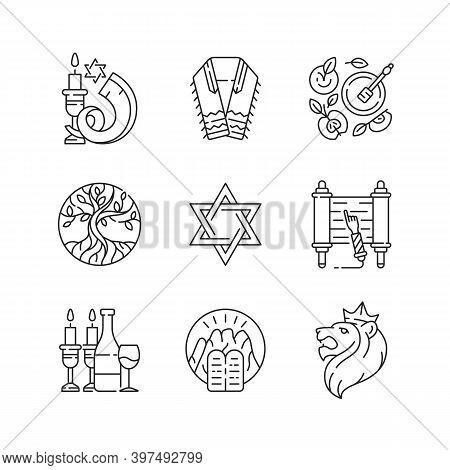 Judaism Symbols Linear Icons Set. Shofar, Shophar. Jewish Prayer Shawl. Apples And Honey Pot. Life T