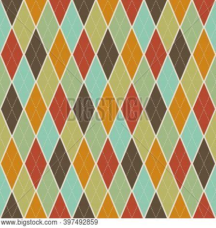 Geometric Shape, Diamond Cross-cut, Seamless Pattern Retro Style, Editable Dot Lines. Color Brown, L