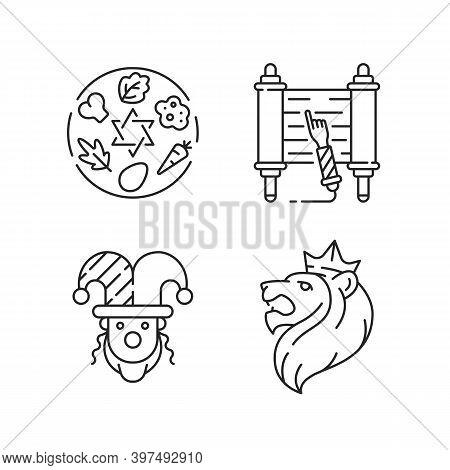 Jewish Religious Symbols Linear Icons Set. Passover Seder Plate. Torah Scroll. Purim Event. Judah Li