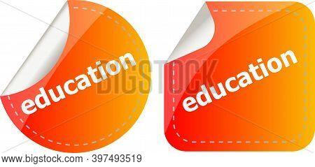 Education Stickers Set On White, Icon Button Isolated On White