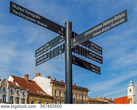 Cluj-napoca, Transylvania, Romania - September 20, 2020: Street Signs Marking The Direction To The F