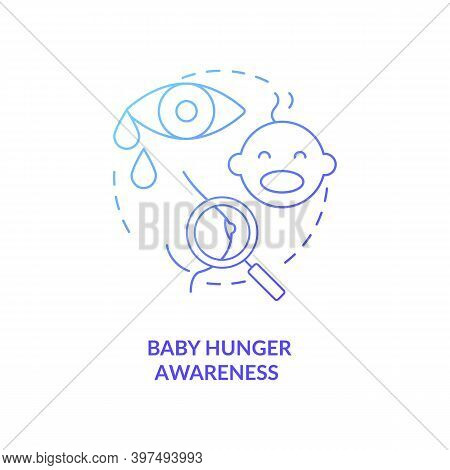 Baby Hunger Awareness Concept Icon. Breastfeeding Tips. Children Crying For Milk Feading. Newborns W