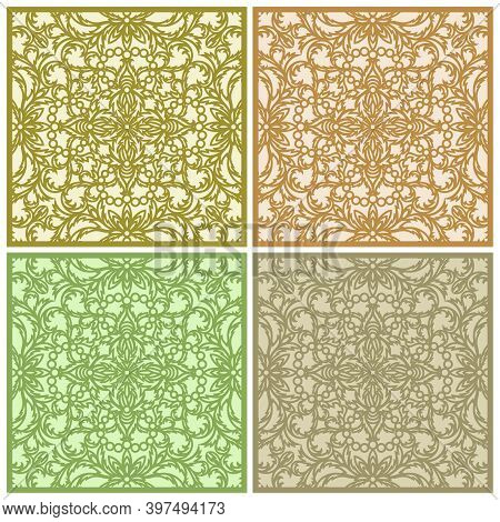 Set Of Square Panels In Gold, Beige, Brown, Green Colors. Floor Or Wall Tile Design. Classic Openwor