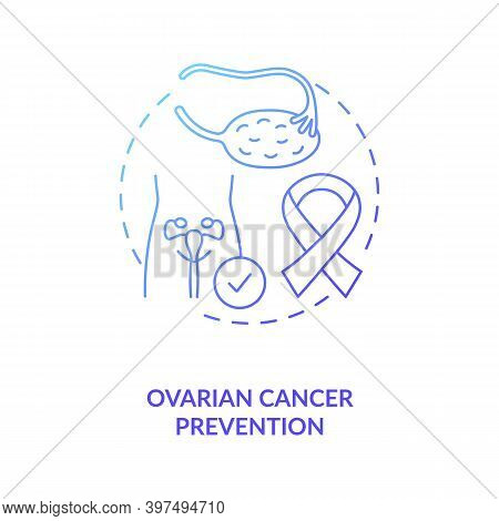 Ovarian Cancer Prevention Concept Icon. Breastfeeding Benefits For Women. Hard Body Disease After Pr