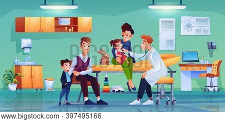 Children With Parents At Pediatrician Office, Modern Furniture And Medical Equipment. Vector Doctor