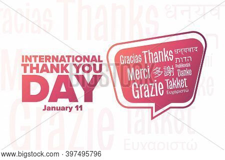 International Thank You Day. January 11. Inscription Thank You In Different Languages. Holiday Conce