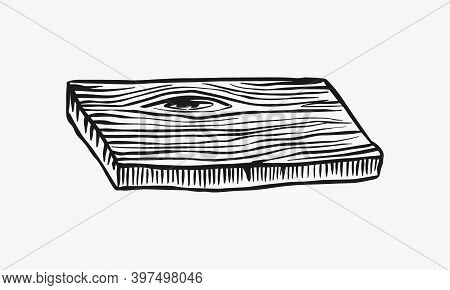 Wood Or Piece Of Tree. Plank And Log, Lumber And Cut, Firewood In Vintage Style. Vector Illusion For