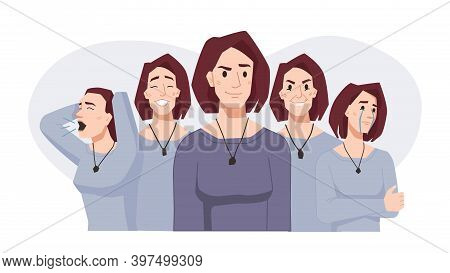 Bipolar Disorder, Mood Swings, Woman Face Expressions In Different Moods. Vector Female Happy And Cr