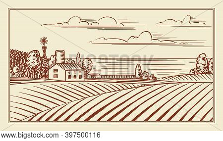 Rural Meadow. A Village Landscape With Hills And A Farm. Sunny Scenic Country View. Hand Drawn Engra