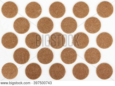 Felt Sticky Pads For Furniture Legs, Circular Brown On White Plastic Card, For Use In Office Or Home