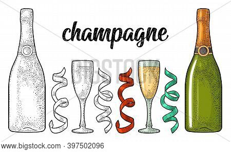 Champagne Calligraphic Handwriting Lettering. Glass, Bottle, Serpentine. Vintage Vector Engraving Il
