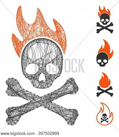 Vector Wire Frame Death Fire. Geometric Linear Frame 2d Network Made From Death Fire Icon, Designed