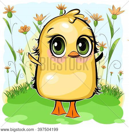 Little Duckling. The Funny Chick Is Trying To Take Off. Cute And Funny Chick. The Isolated Object On