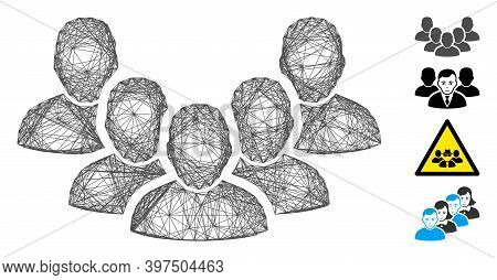 Vector Net Staff. Geometric Hatched Carcass Flat Net Generated With Staff Icon, Designed With Crossi