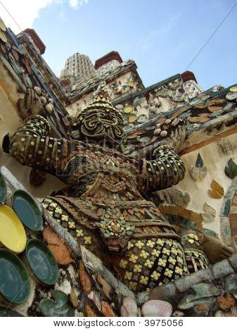 Yaksha At The Base Of Central Prang Of Wat Arunratchawararam