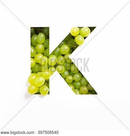 Green Grape Alphabet, Letter K Of English Abc Isolated On White. Appetizing Typeface Made Of Fresh B