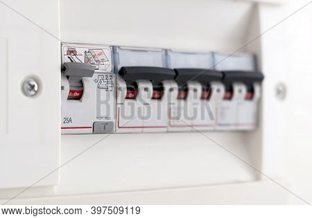 Detail Of A Switch In A Domestic Fuse Box. Household Electric Utility. Automatic Safety And Residual