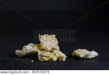 Grain Crispbreads Crispy Rice Diet Whole Grain Bread. Rice Cake Puffed Rice On Black Background