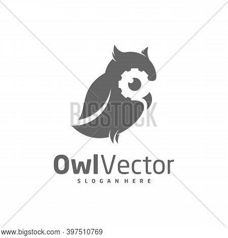 Owl Gear Logo Vector Template, Creative Owl Logo Design Concepts