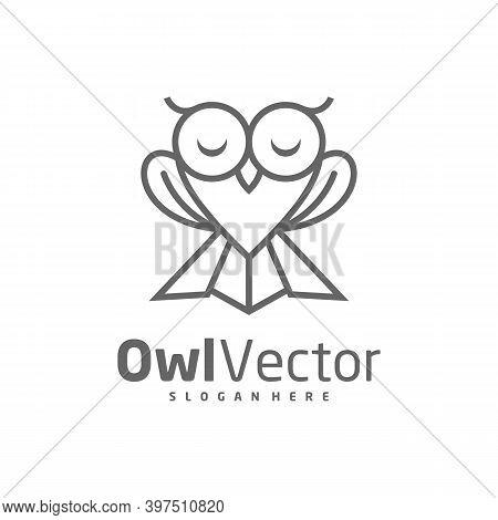 Owl Love Logo Vector Template, Creative Owl Logo Design Concepts, Icon Symbol, Illustration