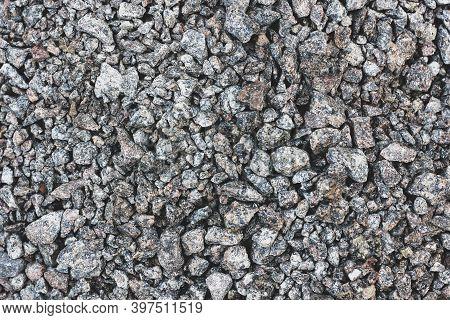 Rubble Background. Stone Background. Construction Material. Grey Ground Stone Rubble Background