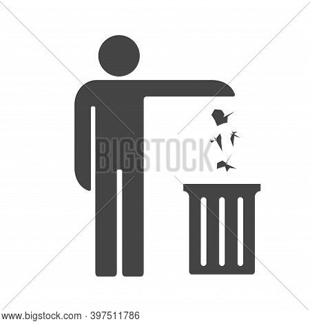 Man Throwing Out Trash. Tidy Man Symbol, Do Not Litter Icon, Keep Clean, Do Not Waste Vector Icon.
