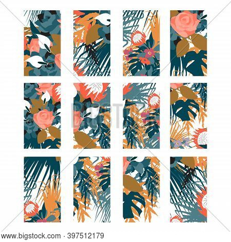 Bohemian Colorful Floral Social Media Stories Highlights. Boho Story Covers. Isolated On White Backg
