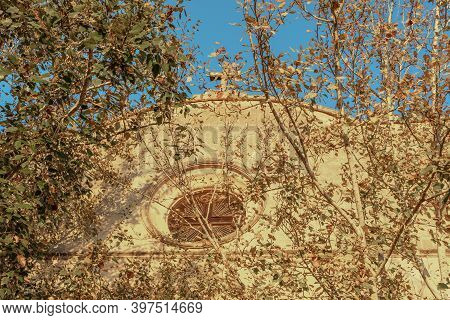 Close-up Of The Oratori De La Santa Creu. Christian Religious Building Located In The Majorcan Town
