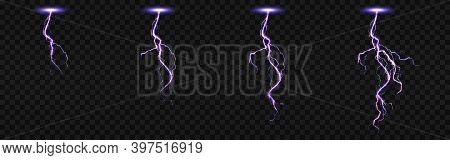 Sprite Sheet With Lightnings, Thunderbolt Strikes Set For Fx Animation. Vector Realistic Set Of Purp