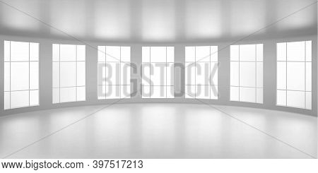 Empty Round Room, Office With Large Windows, White Ceiling And Floor. Internal Interior Structure Of
