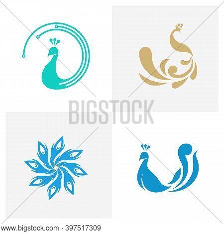 Set Of Peacock Logo Vector Template, Creative Peacock Logo Design Concepts, Illustration